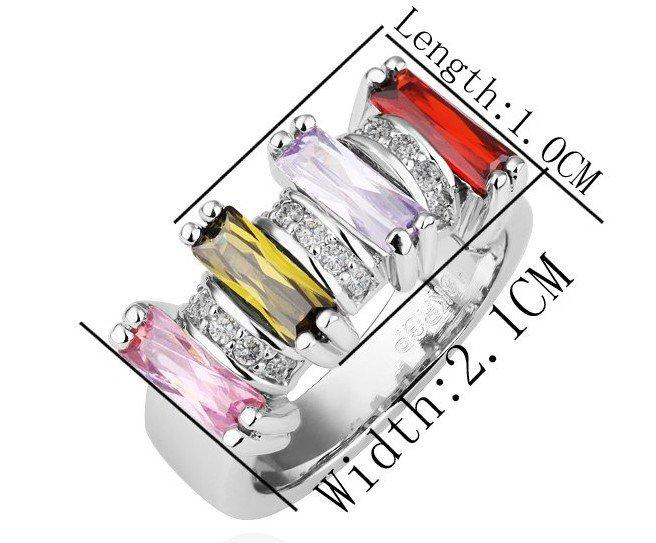 18KGP R200 18K Platinum Plated Ring Nickel Free  Rhinestone ,Ring US-size 8