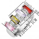 18KGP R200 18K Platinum Plated Ring Nickel Free  Rhinestone ,Ring US-size 8