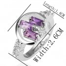 18KGP R207 18K Platinum PlatedRing Nickel Free K Golden Plating Rhinestone ,Ring US-size 8