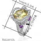 18KGP R224 Yellow Flower 18K Platinum Plated Ring Nickel Free Rhinestone,Ring US-size 8