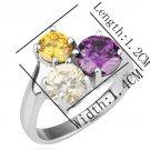 18KGP R197 Three Crystal 18K Platinum Plated Ring Nickel Free Platinum,Ring US-size 8