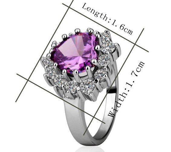 18KGP R217 Purple 18K Platinum Plated Ring Nickel Free K Golden Plating Rhinestone,Ring US-size 7
