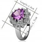 18KGP R217 Purple 18K Platinum Plated Ring Nickel Free K Golden Plating Rhinestone,Ring US-size 7