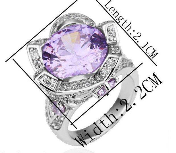 18KGP R189 Purple Flower 18KPlatinum Plated Ring Nickel Free Rhinestone ,Ring US-size 8