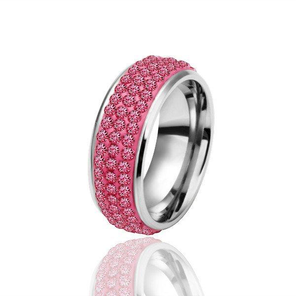 18KGP R023 Red-stone18K Platinum Plated Ring Jewelry Nickel Free Rhinestone,Ring US-size 8