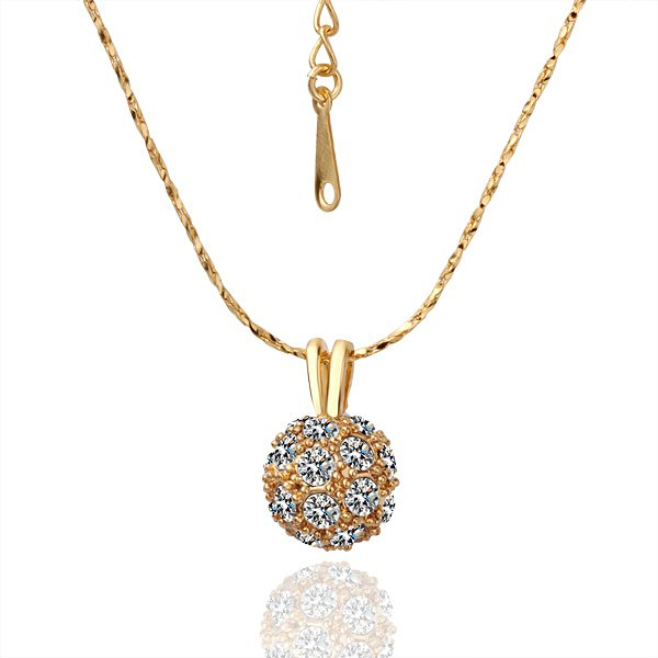 18KGPN018 N019 Colorful Ball 18K Gold Plated Plating Necklace Pendant Nickel Free Rhinestone
