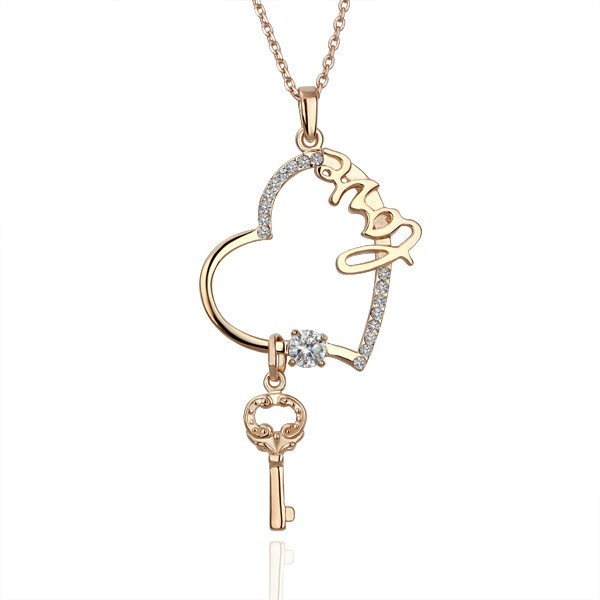 18KGP N075 18K Gold Plated Necklace Nickel Free K Golden Plating Pendant Rhinestone Heart Key
