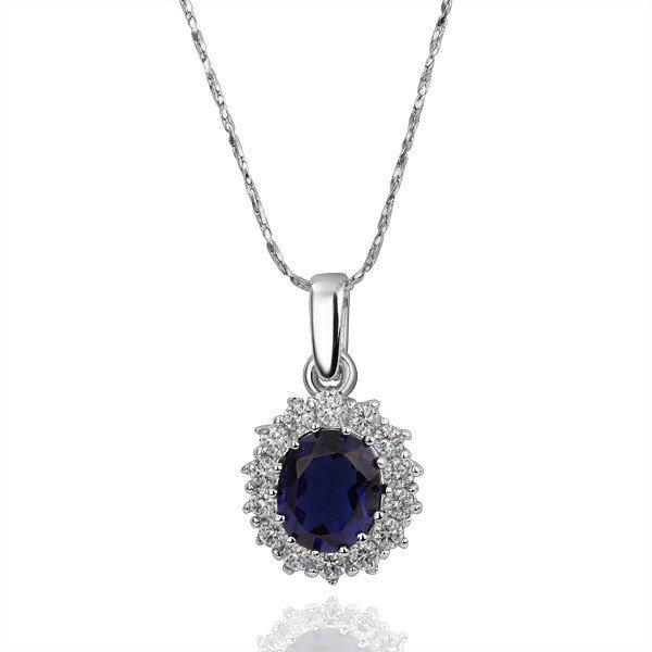 18KGP N160 Blue Crystal 18 K Platinum Plated Necklace Pendant Rhinestone Crystal Valentine