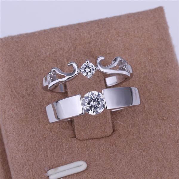 ER08 Platinum Plated Set,gemstone silver Rings,Rings Size Female7-16,Male13-24