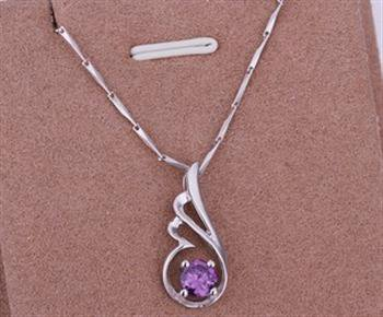 PD02 Platinum Plated Silver Necklace,necklace length approximately18~20 inches