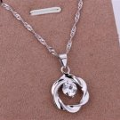 PD014 Platinum Plated Silver Necklace,necklace length approximately18~20 inches