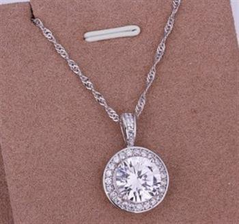 PD017 Platinum Plated Silver Necklace,necklace length approximately18~20 inches