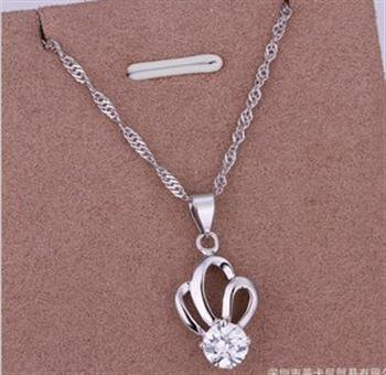 PD018 Platinum Plated Silver Necklace,necklace length approximately18~20 inches