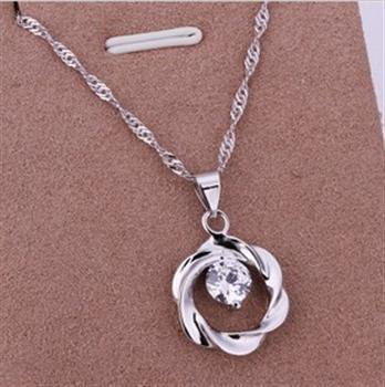 PD024  Platinum Plated Silver Necklace,necklace length approximately18~20 inches