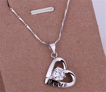 PD029 Platinum Plated Silver Necklace,necklace length approximately18~20 inches