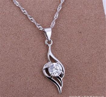 PD031 Platinum Plated Silver Necklace,necklace length approximately18~20 inches