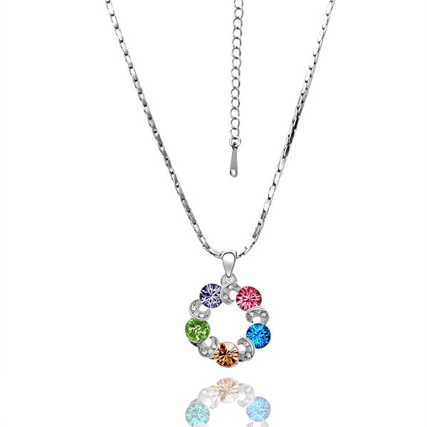 18KGP N026 Sky Wheel Necklace 18K K Gold Plated Nickel Free Necklace Rhinestone Crystal SWA Elements
