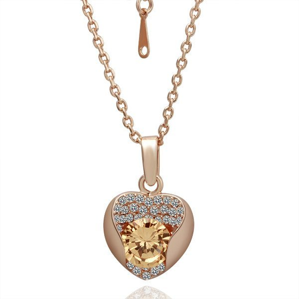 18KGP N044 Golden Heart Jewelry 18K Gold Plated Pendant Necklace Nickel Free