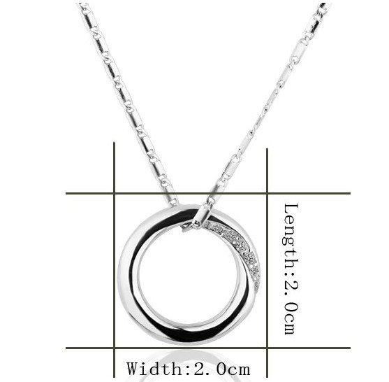 18KGP N344 Round Necklace 18K Platinum Plated Fashion Jewelry Nickel Free Pendant