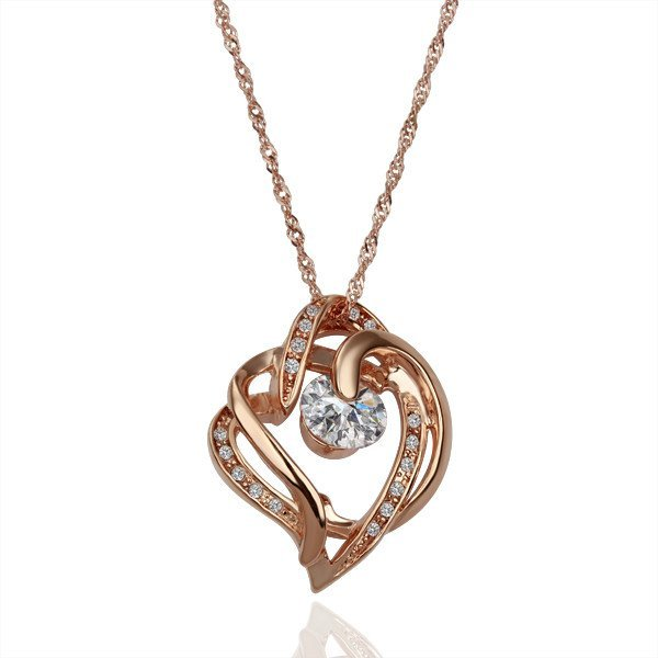 18KGP N125 Hearts Jewelry 18K Gold Plated Pendant Necklace Nickel Free