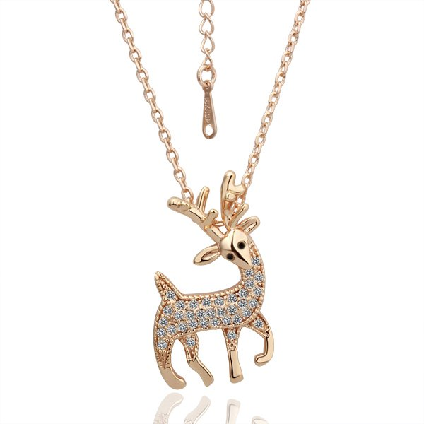 18KGP N045  Deer Necklace 18K K Gold Plated Fashion Jewellery Nickel Free Necklace