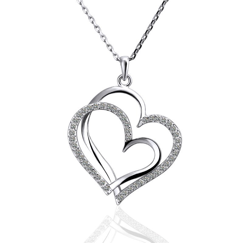18KGP N498 Two Heart 18K Platinum Plated Fashion Jewelry Nickel Free Pendant