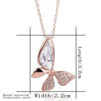 18KGP N277 Clear Butterfly Necklace 18K K Gold Plated Fashion Jewellery Nickel Free Necklace
