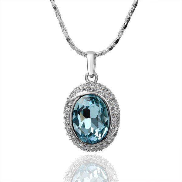 18KGP N036 Big Blue Crystal Necklace 18K Platinum Plated Fashion Jewellery Nickel Free Necklace