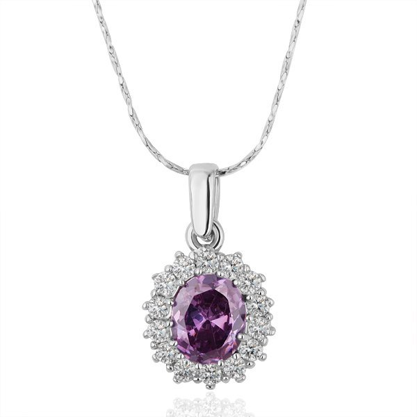18KGP N210 Purple Crystal 18K Platinum Plated Fashion Jewelry Nickel Free Pendant