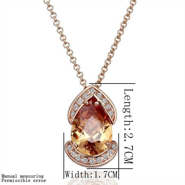 18KGP N127 18K Gold Plated Plating Platinum Necklace Nickel Free Rhinestone Zicon Yellow-stone