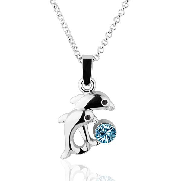 18KGP N267 Blue Dolphin Necklace 18K Platinum Plated Fashion Jewellery Nickel Free Necklace