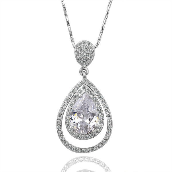 18KGP N065 Drop Jewelry 18K Platinum Plated Plating Platinum Necklace Nickel Free