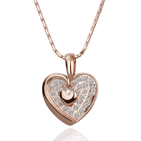 18KGP N124 Heart Crystal Necklaces 18K K Gold Plated Fashion Jewellery Nickel Free Necklace