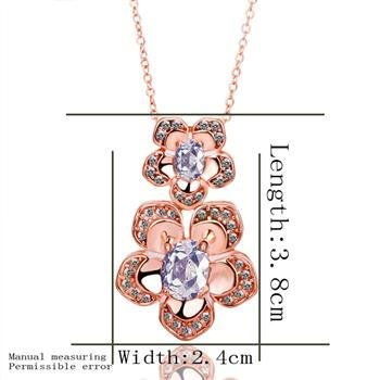 18KGP N389 Clear Flower Necklace 18K K Gold Plated Fashion Jewelry Nickel Free Pendant