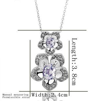 18KGP N388 Clear Flower Necklace 18K K Gold Plated Fashion Jewelry Nickel Free Pendant