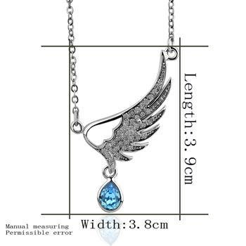 18KGP N312 Blue Wing Necklace 18K Platinum Plated Fashion Jewellery Nickel Free Pendant