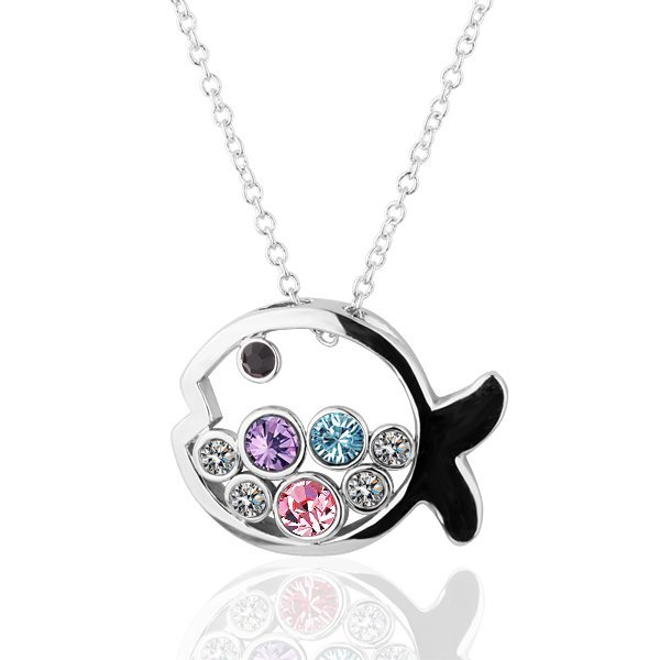 18KGP N262 Multicolour Fish Necklace 18K Platinum Plated Fashion Jewellery Nickel Free Necklace