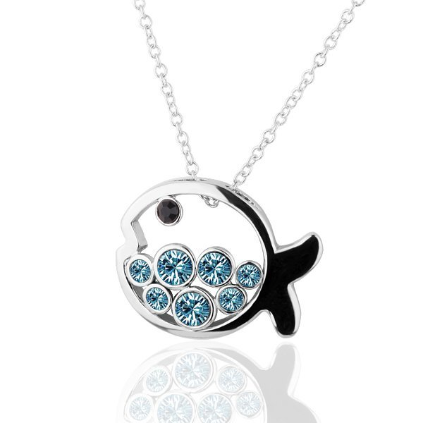 18KGP N261 Blue Fish Necklace 18K Platinum Plated Fashion Jewellery Nickel Free Necklace