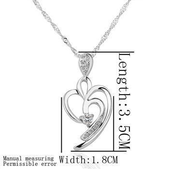 18KGP N175 18K Platinum Plated Pendant Necklace Health Jewelry Nickel Free