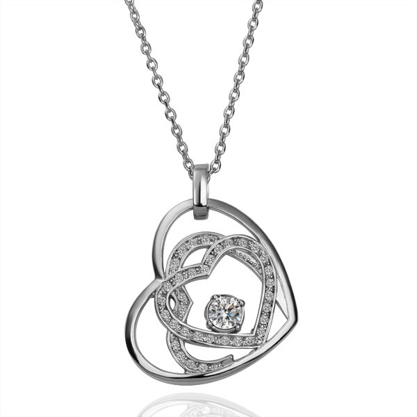 18KGP N116 Heart In Heart Necklace 18K K Gold Plated Fashion Jewellery Nickel Free Necklace