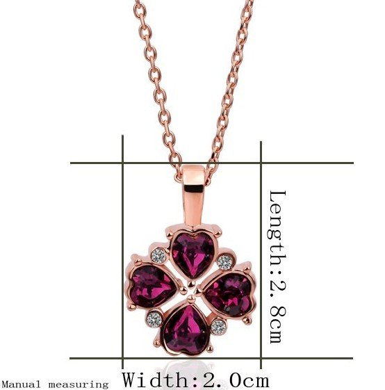 18KGP N360 Wine Red Leaf Necklace 18K K Gold Plated Fashion Jewellery Nickel Free Pendant