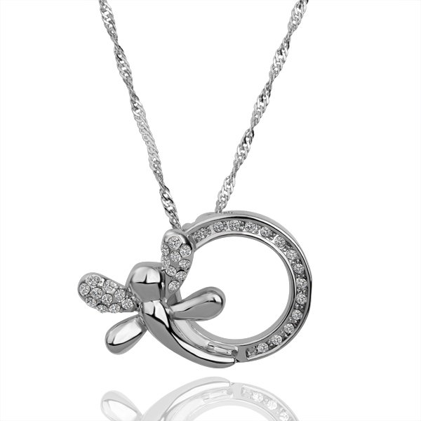 18KGP N079 Dragonfly Crystal Necklace 18K Platinum Plated Fashion Jewellery Nickel Free Necklace