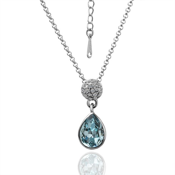 18KGP N032 Blue Crystal Necklace 18K Platinum Plated Fashion Jewellery Nickel Free Necklace