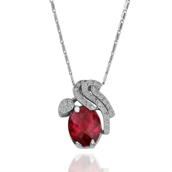 18KGP N148 Red Cherry Healthy Jewelry 18K Plated Plating Platinum Necklace Nickel Free