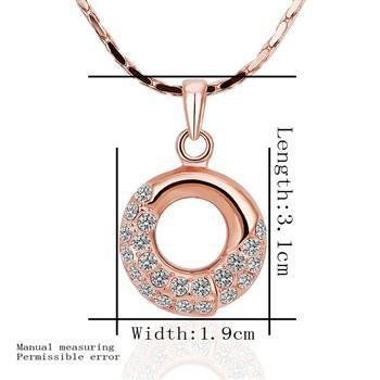 18KGP N430 Crystal Round Necklace 18K K Gold Plated Fashion Jewelry Nickel Free Pendant