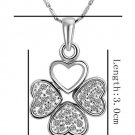 18KGP N474 Four Leaf Clover Necklaces 18K Platinum Plated Fashion Jewelry Nickel Free Necklace