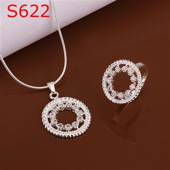 SPCS622 Factory Price! Free shipping Wholesale silver plated set fashion jewelry sets