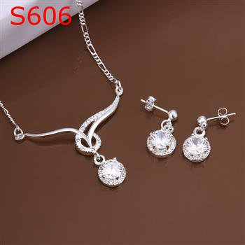 SPCS606  Factory Price! Free shipping Wholesale silver plated set fashion jewelry sets
