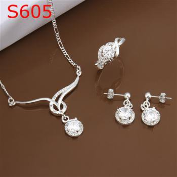 SPCS605  Factory Price! Free shipping Wholesale silver plated set fashion jewelry sets