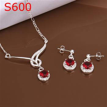 SPCS600  Factory Price! Free shipping Wholesale silver plated set fashion jewelry sets